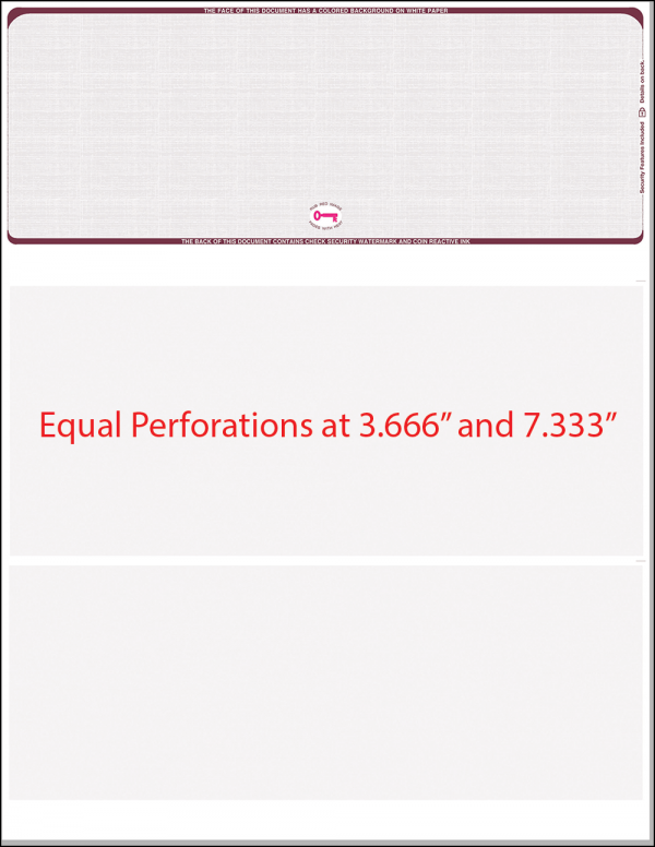 Top equal perforation burgundy linen blank laser check