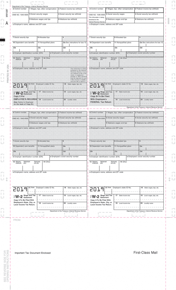 Pressure Seal 2019 W-2 4up box format with grids