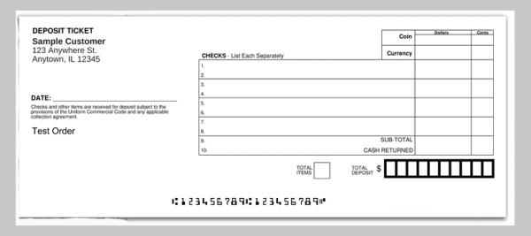 One Part Horizontal Deposit Ticket Book