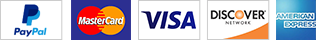 We accept Visa, Mastercard, AMEX, Discover, eCheck, PayPal and Amazon Payments