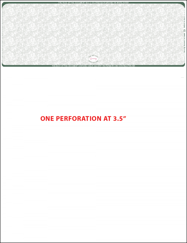 ADP compatible single perf Green Top Blank Laser Check