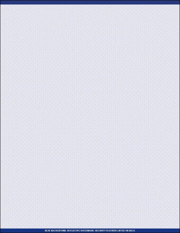 Standard Security Blank Rx paper one up Blue