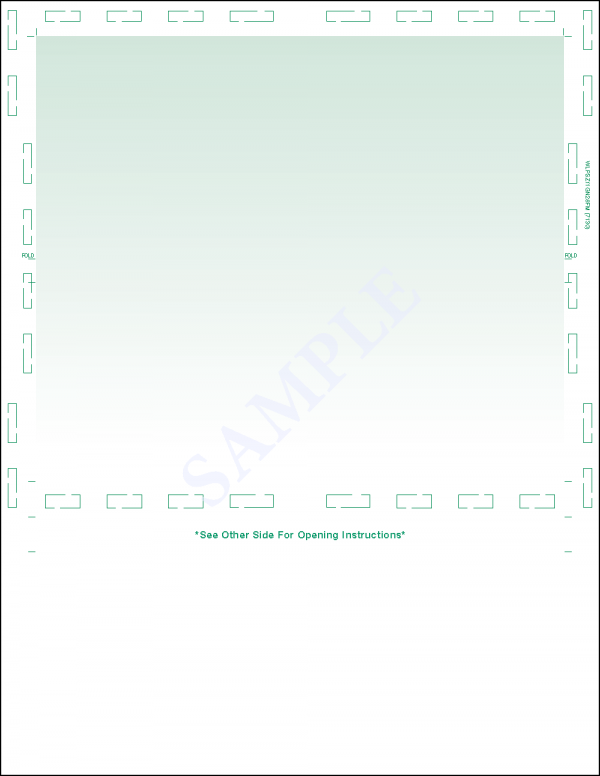 Letter z fold green pressure seal form