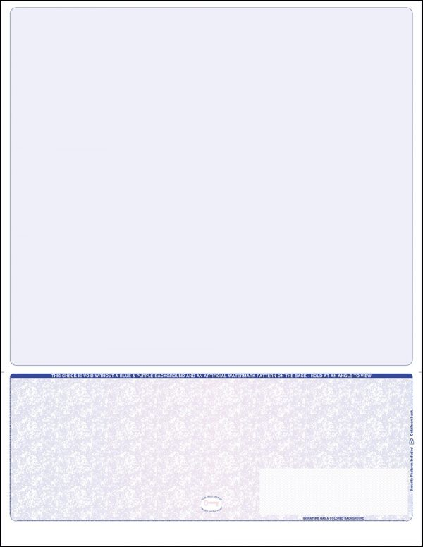 blue purple blue bottom position one perf blank laser payroll check